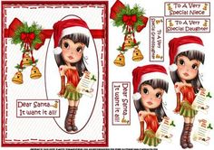 Teen diva wants it all for Christmas on Craftsuprint designed by Carol Smith - a decoupage sheet featuring one of the teen diva's who is stood with her Santa hat on with her letter for Santa which knowing teen girls will be a long long list LOL the caption being... Dear Santa I want it all!optional tags provided say ...to a very special daughter, to a very special granddaughter, and to a very special niece.thank you for looking please take a peek at my other items - Now available for ...