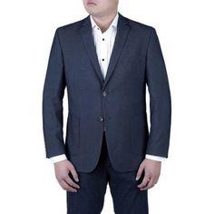 Verno Men's Navy Blue Pinhead Textured Slim Fit Italian Styled Notch Lapel Blazer, Size: 46L