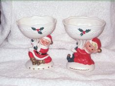 Vintage Christmas Napco Santa Claus & Pixie Elf Planter Candy dish Figurine Ornament Decoration Japan by BrilbunnySelections on Etsy https://www.etsy.com/listing/115410729/vintage-christmas-napco-santa-claus
