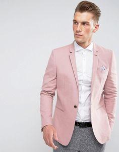 Asos Skinny Blazer In Pink Linen Blend Smart Casual Outfit, Smart Casual Menswear, Pink Blazer Men, Pink Suit Men, Rosa Blazer Outfits, Terno Casual, Fashion Moda, Mens Fashion, Polo Outfit