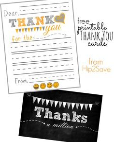 Free Printable Thank You Cards for Kids – Hip2Save