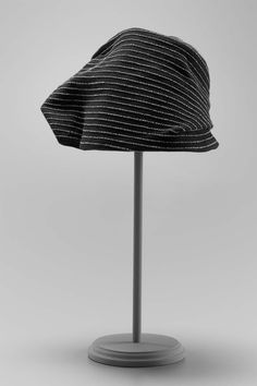 "Hat of black wool felt with couched parallel lines of silver-wrapped thread; asymmetrical shape draped to right. Label: ""original by Woodmere new york"" 1930s Hats, 1940s, Cloche Hat, Haute Couture Fashion, Black Wool, Hats For Women, Wool Felt, Shapes, Metal"