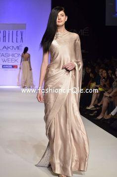 Plain, yet Elegant #Saree in shade of Champagne