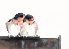 Accueillir les hirondelles peinture - impression d'aquarelle A4, art de l'oiseau, sticker, décoration de Louise De Masi