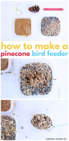 How To Make A Simple Pinecone Bird Feeder – Babble Dabble Do How To Make A Simple Pinecone Bird Feeder – Babble Dabble Do The post How To Make A Simple Pinecone Bird Feeder – Babble Dabble Do appeared first on Deco. Bird Feeders For Kids To Make, Make A Bird Feeder, Pine Cone Bird Feeder, Bird Feeder Craft, Hanging Bird Feeders, Science Projects For Kids, Science Activities For Kids, Toddler Activities, Crafts For Kids