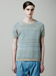 Blue Textured Knitted T-shirt.