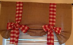 Burlap Tie Up Valance with Red Gingham by MALILASHOP on Etsy, $34.99