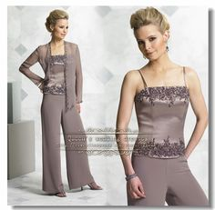 Aliexpress.com : Buy Gray three piece Chiffon mother of the bride pant suits with lace from Reliable suit boy suppliers on Queen's wedding dresses | Alibaba Group