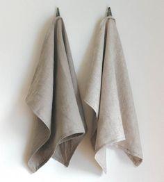 Linen Kitchen Tea Towel - Beige   This beige tea towel is hand-sewn using lightweight linen that...   Kitchen Towels