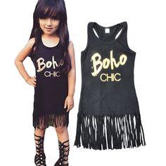 Tassel girls dress summer 2016 girl party dresses summer brand black letter Tassel princess dress summer kids clothes for girls