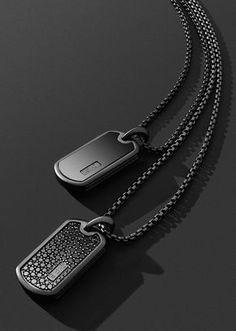 Black titanium tags.