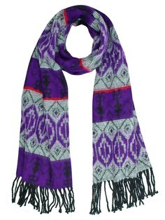 Purple Grey Long Scarf Aztec Print Wrap Wide Oversized Lightweight Shawl New