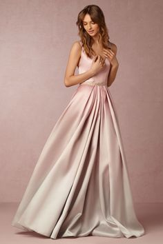 Blush ombre gown by Monique Lhuillier. The pink and grey hues create a watercolor effect over the skirt of this figure flattering gown. Perfect for both black tie parties and a (slightly-untraditional) walk down the aisle | Lorraine Dress from BHLDN | #BHLDNstylists