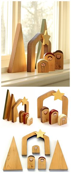 EASY & UNIQUE DIY - Make this simple and unique wooden nativity scene. Beautiful for your home and makes a thoughtful and unique gift. Kids can also make these fun nativity scenes. Comes with free template.