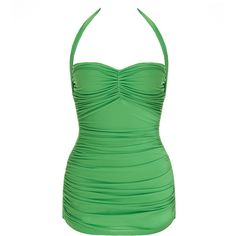 Norma Kamali Bill Mio Green Ruched Halterneck Swimsuit (665 QAR) ❤ liked on Polyvore featuring swimwear, one-piece swimsuits, green, norma kamali swimsuit, halter bathing suit tops, halter top one piece swimsuit, halter bathing suit and swim trunks