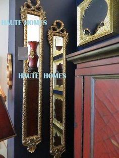 "Designer Large 53"" French Victorian Ornate Floral Bow Gold Mirror Panels Set 2 | eBay"