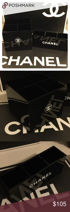 Chanel a Vanity Organizer Set of 2 Bundle of two Chanel Brush holders: 4 Slot holder measure 5L x 5Wx 4.5H inch. 3 Slot Makeup Organizer measures 7Lx 2W x3H inches. Both new in box! Price Firm 💕 CHANEL Makeup Brushes & Tools