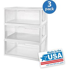 Set of 3, Sterilite Large Modular Drawers - Tall, Spacious, Tote Box, Stackable Storage, Container, Open Side Panels, Heavy Duty Plastic, Durable, Long-lasting, Transparent, Clear, White, No Assembly Required STERILITE http://www.amazon.com/dp/B00LD5G74E/ref=cm_sw_r_pi_dp_iN08tb0WRQQTG