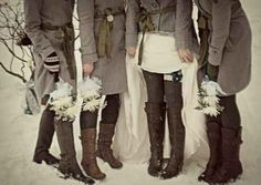 Matching coats instead of dresses, for outside winter wedding/pictures? And boots, if there's a heavy-duty chill. | 42 Lovely Ideas For A Cold-Weather Wedding