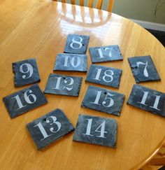 How to make slate table numbers