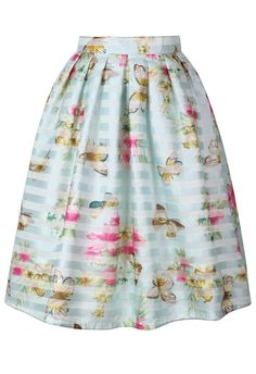 Spring Cruise Butterfly and Flower Midi Skirt
