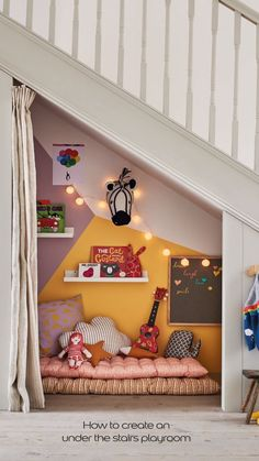 How to create an under the stairs playroom - Kids playroom ideas Under Stairs Playroom, Under Stairs Playhouse, Kids Basement, Under Stairs Cupboard, Space Under Stairs, Basement Ceilings, Basement Bars, Under The Stairs, Closet Under Stairs