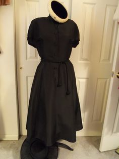 Vintage 1940's Black DressAwesome Collar by SusieQsVintageShop, $74.00