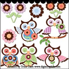 Spring Owls 2 - Non-Exclusive Clip Art