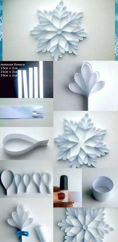 weihnachten ideen Ideias baratas para decorar a casa no Natal Christmas Projects, Christmas Fun, Holiday Crafts, Christmas Ornaments, Christmas Snowflakes, Diy Christmas Decorations, Paper Ornaments, Christmas Crafts With Paper, Origami Christmas