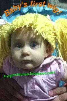Baby's first wig: Cabbage Patch Doll hair hat tutorial