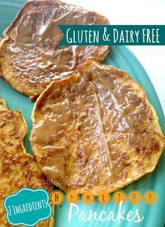 Gluten Free, Dairy Free, 2-Ingredient Healthy Pancakes!
