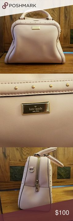 Kate spade purse Worn condition. Outside is in almost perfect condition aside from a small scuff on one handle and obvious shape wear. I recieved so many compliments on this purse! Blush colored with gold details! Any questions please ask! kate spade Bags