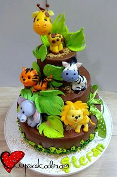 Jungle-Safari Party - For all your cake decorating supplies, please visit… Jungle Birthday Cakes, Jungle Safari Cake, Jungle Theme Cakes, Safari Baby Shower Cake, Safari Cakes, Safari Party, Animal Birthday, Baby Shower Cakes, Jungle Party