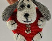Crochet dog hugs heart pendant. FREE SHIPPING.