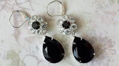 Black Tear Drop Earrings made with Vintage by ArtistInJewelry