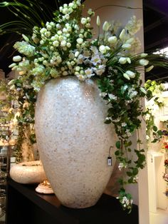 Large white urn centerpiece White Floral Arrangements, Church Flower Arrangements, Church Flowers, Beautiful Flower Arrangements, Beautiful Flowers, Corporate Flowers, Arte Floral, Large Flowers, Flower Decorations