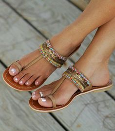 shoes flip-flops sandals brown leather pearl vintage flat sandals blue red tourquise gold silver