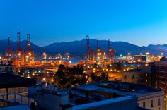 The Burrard Inlet and the East Vancouver Shipyard seen from a Rooftop in Gastown . Vancouver Neighborhoods, Rooftop, San Francisco Skyline, Opera House, The Neighbourhood, Heart, Building, Places, Photography