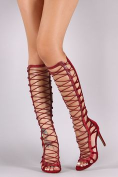 This chic heel features a strappy knotted detail with snake print vegan leather trim, crisscrossing elasticized straps at front shaft, and wrapped stiletto heel. Finished with a lightly padded insole Wedge Boots, Heeled Boots, Shoe Boots, Thigh High Sandals, High Heels, Lace Heels, Shoes Heels, Clogs, Gladiator Heels