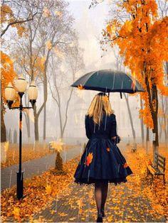 Umbrella Painting, Umbrella Art, Autumn Scenery, Autumn Trees, House Painting, Diy Painting, Learn Painting, Scenery Paintings, Autumn Painting