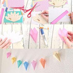 【レシピ】 海外の雑誌でよく見かけるpaper gemsを作ってみました。日本の折り紙みたいです。 テンプレートはpaper gemstone templateでネットで検索するといろいろ出てきますよ。 ヒモでつないで壁に飾ったらお部屋がぱっと明るくなりました♪ #tetote #recipe #papergems #papercrafts #craft #garland #ガーランド #レシピ #ペーパークラフト