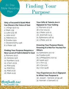 Finding Your Purpose - 31 Day Bible Reading Plan Bible Study Plans, Bible Plan, Bible Study Tips, Bible Journaling For Beginners, Bible Study Guide, Bible Study Journal, Scripture Reading, Scripture Study, Daily Bible Reading Plan