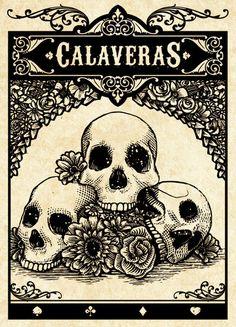 day of the dead. skulls. skeletons. spade. club. diamond. heart. playing cards. poker. blackjack. las vegas. art cards. | Unbranded Calaveras card deck (pre-order for $15.00)