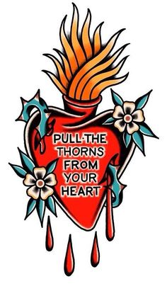 Pull the Thorns from Your Heart by Gus Jaimes Tattoo Flash Art, Ink, Tattoos, Instagram Posts, Heart, Design, Tatuajes, Tattoo