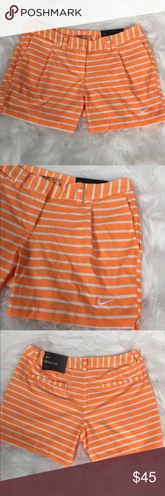 Nike golf dri fit orange white striped shorts Brand new with tag. Size 6. Amazing golf shorts! Retail for these shorts is $75! These aren't just great for golfing though, they are also great for a range of activities or even wear them for 'everyday wear'! Nike golf dri fit orange white striped shorts. Nike Shorts