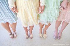 pastel mismatched vintage bridesmaid dresses and shoes. Love!!