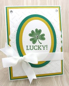 A St. Patrick's card with lots of layers and the Stampin' Up! Oval Collection Framelits Dies and the Lucky Day single stamp.