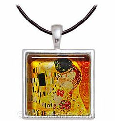 Klimt The Kiss Necklace $24.95 and Free U.S. Shipping, shop now at http://www.artistgifts.com/art-gifts/klimt-kiss-art-glass-necklace.html