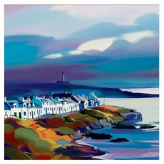 """""""Coastal Cottages"""" - Framed Limited Edition by watercolor artist Pam Carter of Scottland"""