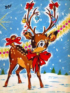 #vintage #deer #christmas #illustration #retro